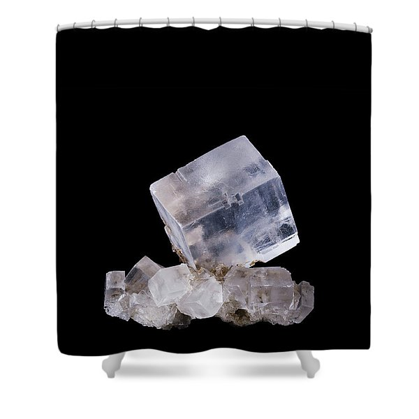 Halite Crystal Cluster Front View On Black Background Shower Curtain