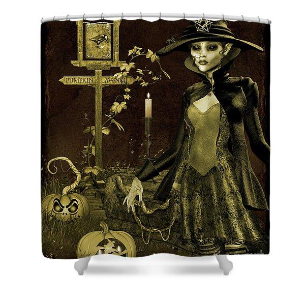 Halloween Graveyard-c Shower Curtain