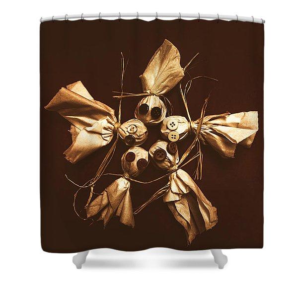 Halloween Horror Dolls On Dark Background Shower Curtain