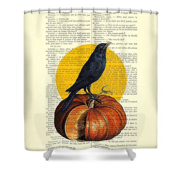 Halloween Pumpkin And Crow Decoration Shower Curtain