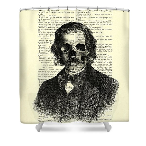 Halloween Skull Portrait In Black And White Shower Curtain