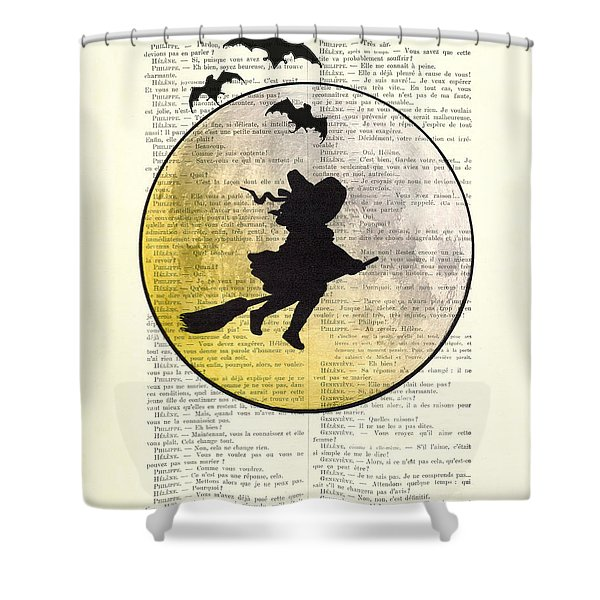 Witch Flying With Full Moon Shower Curtain