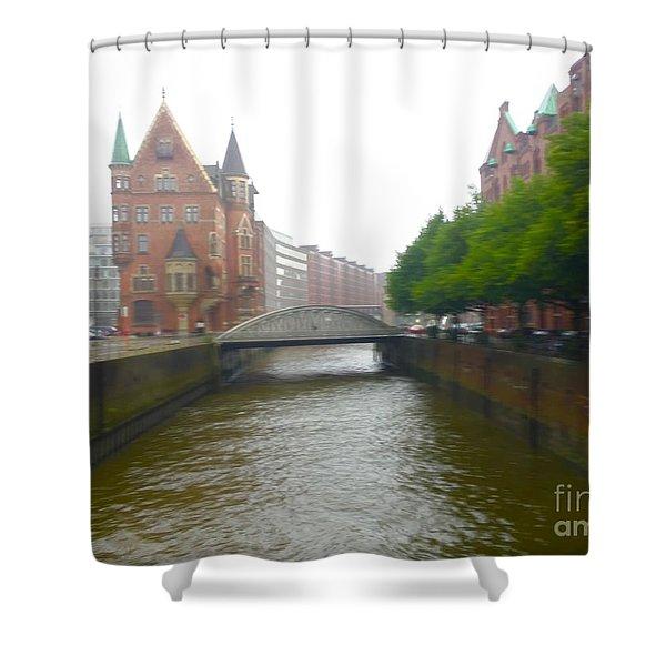 Hamburg Germany Canal Shower Curtain