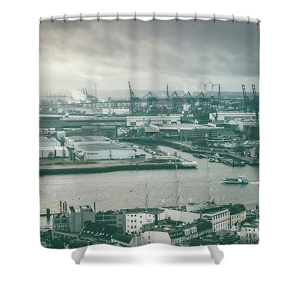 Hamburg Port  Shower Curtain