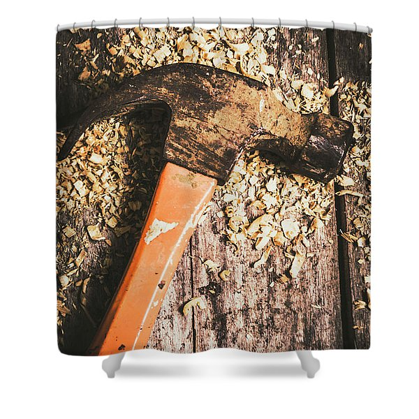 Hammer Details In Carpentry Shower Curtain