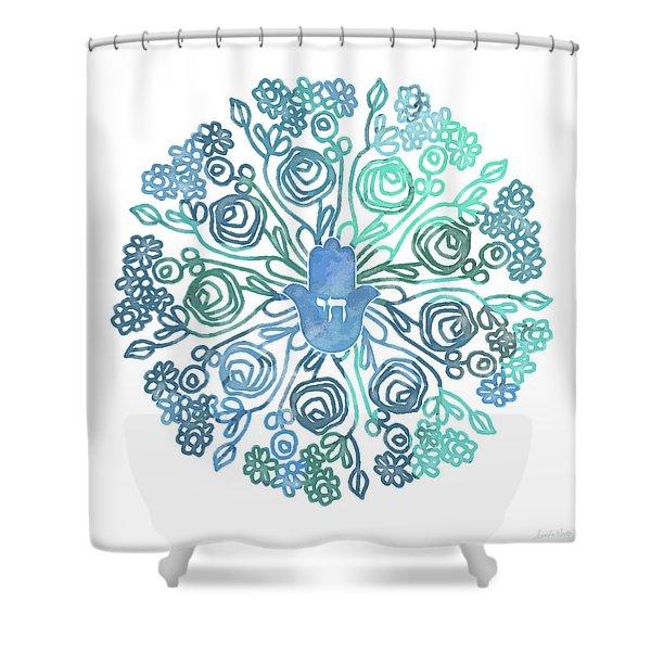 Hamsa Mandala 1- Art By Linda Woods Shower Curtain