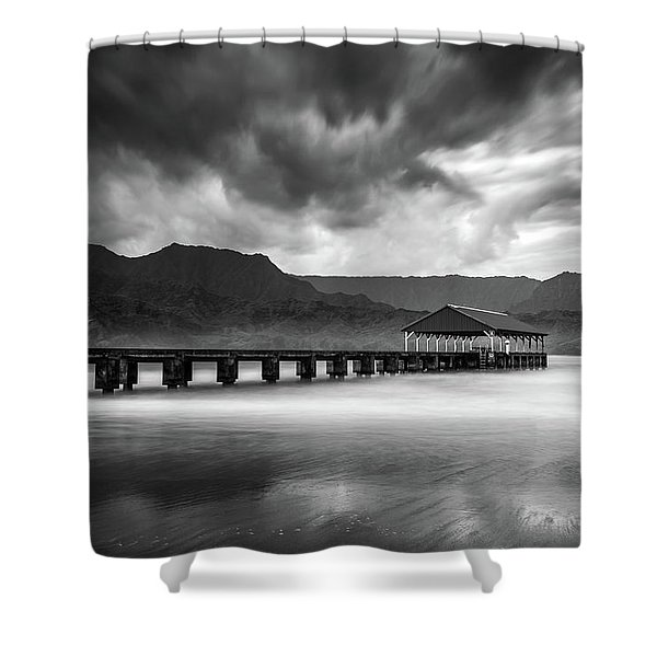 Hanalei Pier In Black And White Shower Curtain