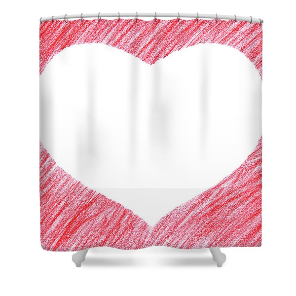 Hand-drawn Red Heart Shape Shower Curtain