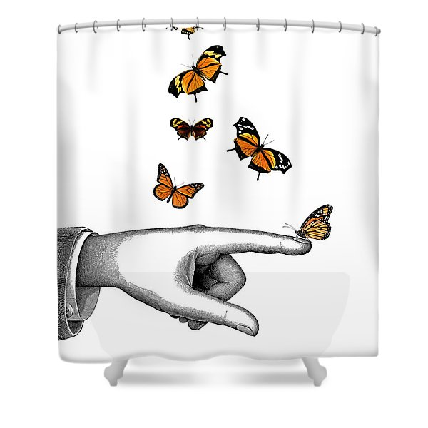 Hand With Orange Monarch Butterfly Shower Curtain