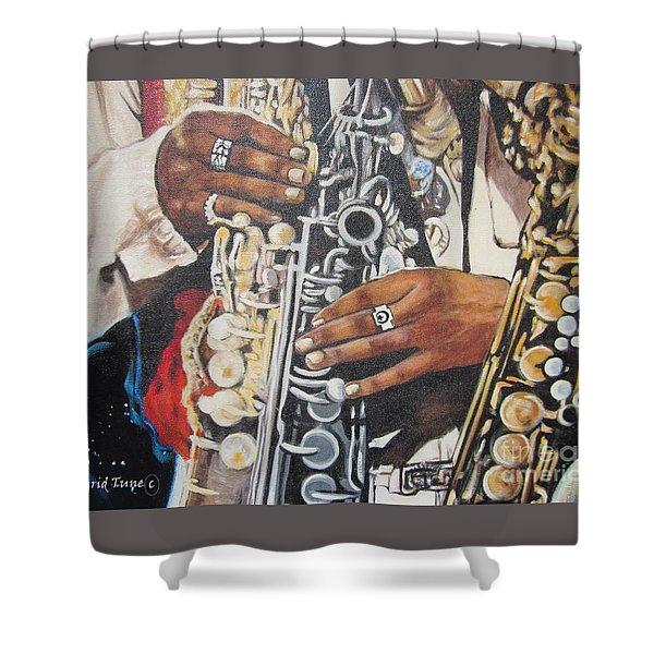 Blaa Kattproduksjoner        Hands Of Music - 2 Shower Curtain