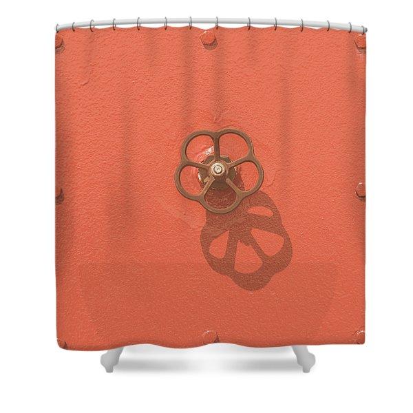 Handwheel - Orange Shower Curtain