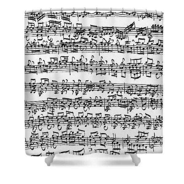 Handwritten Score Of Sonata No 1 For Solo Violin Shower Curtain