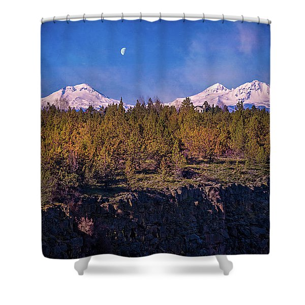 Hanging Under The Moon Shower Curtain
