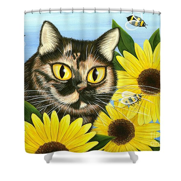 Hannah Tortoiseshell Cat Sunflowers Shower Curtain