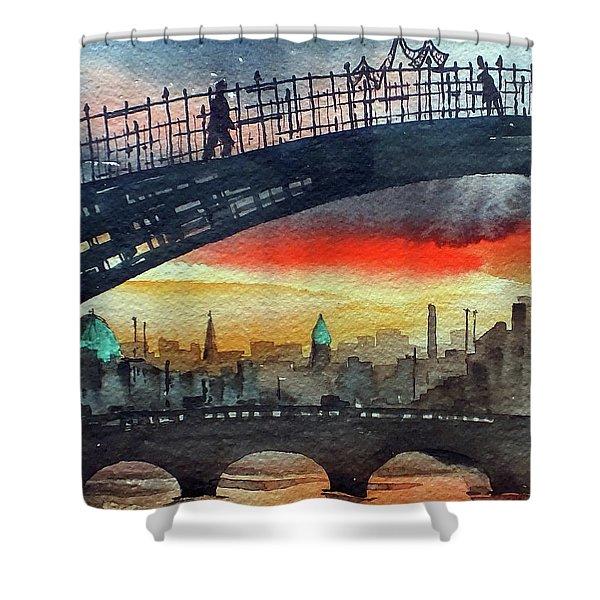 Hapenny Bridge Sunset, Dublin...27apr18 Shower Curtain