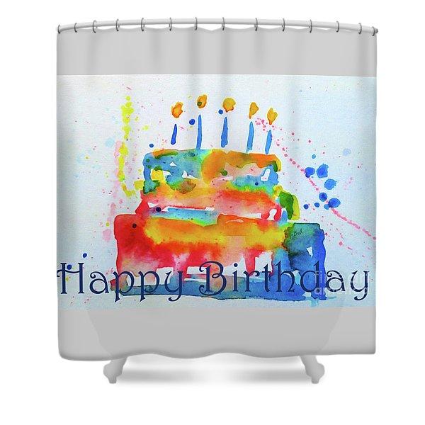 Happy Birthday Blue Cake  Shower Curtain