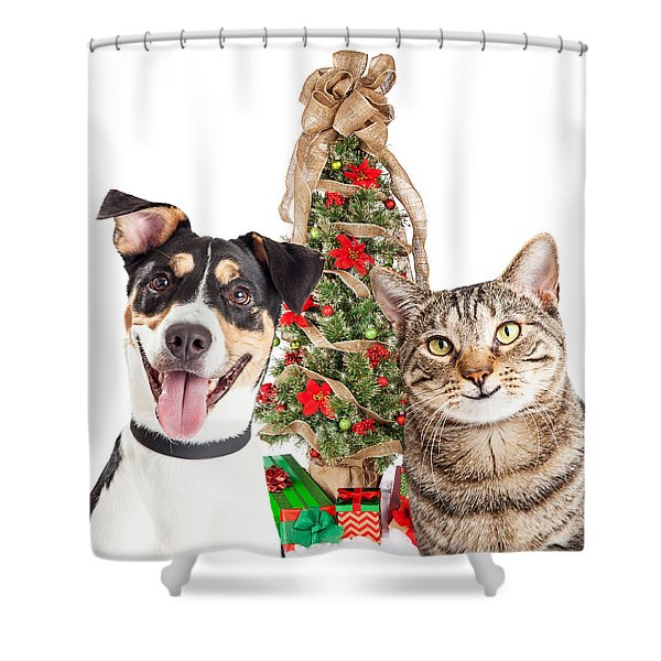Happy Cat And Dog With Christmas Tree Shower Curtain