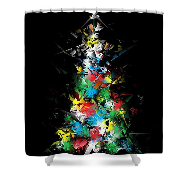 Happy Holidays - Abstract Tree - Vertical Shower Curtain