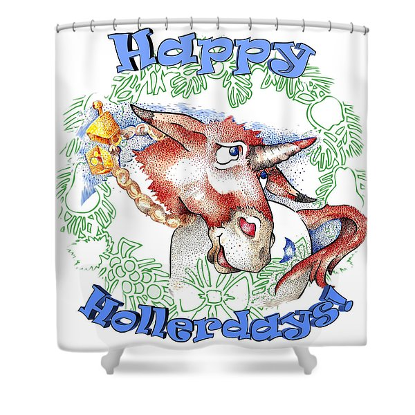 Real Fake News Happy Hollerdays Shower Curtain
