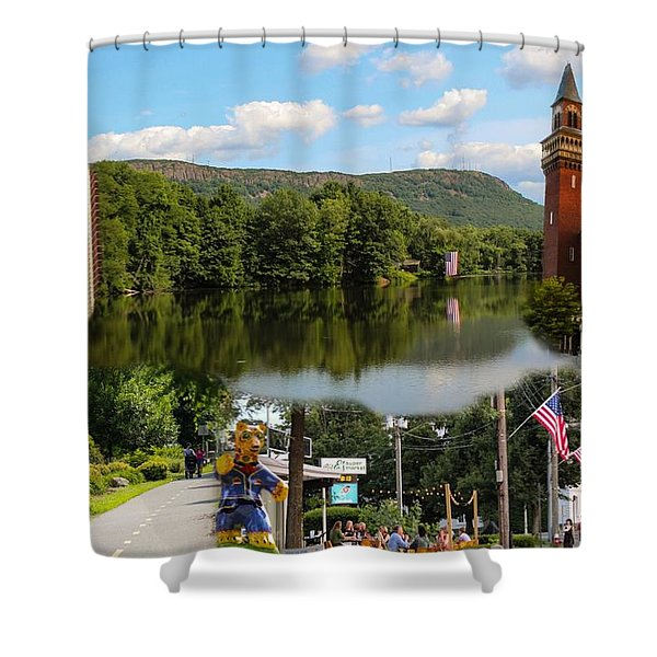 Shower Curtain featuring the photograph Happy In Easthampton Collage by Sven Kielhorn