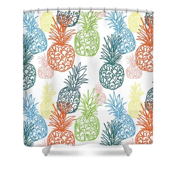 Happy Pineapple- Art By Linda Woods Shower Curtain