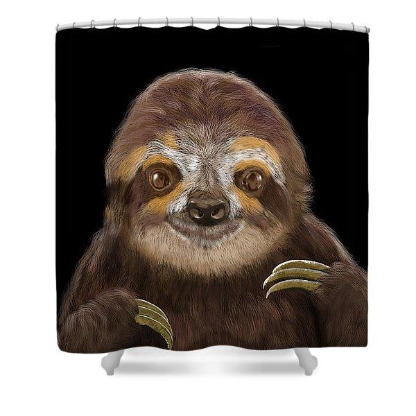 Happy Three Toe Sloth Shower Curtain