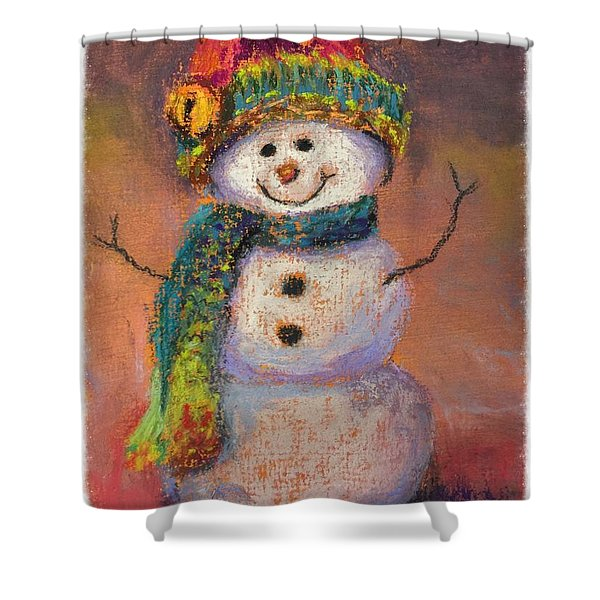 Happy Snowman Shower Curtain