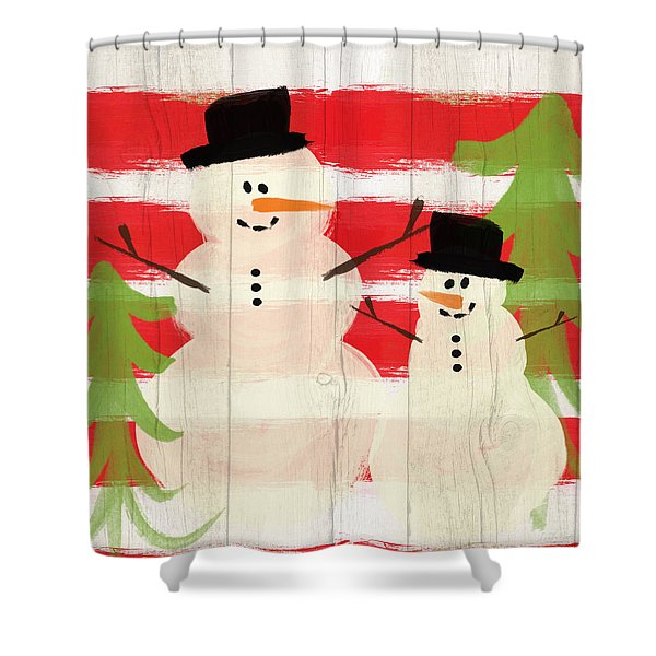 Happy Snowmen- Art By Linda Woods Shower Curtain