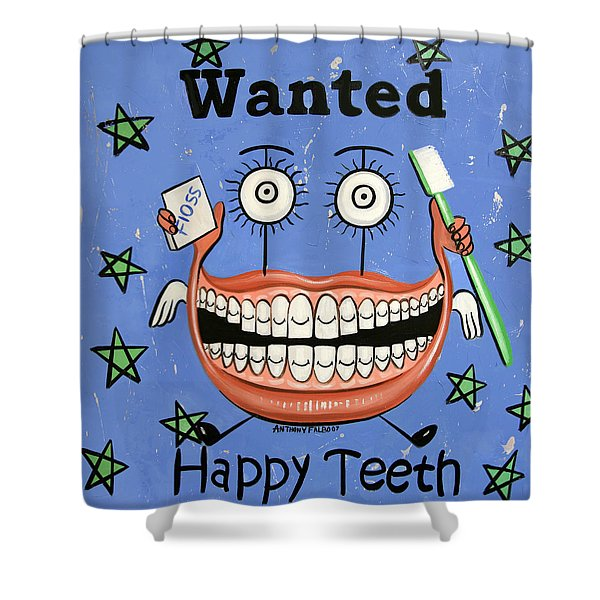 Shower Curtain featuring the painting Happy Teeth by Anthony Falbo