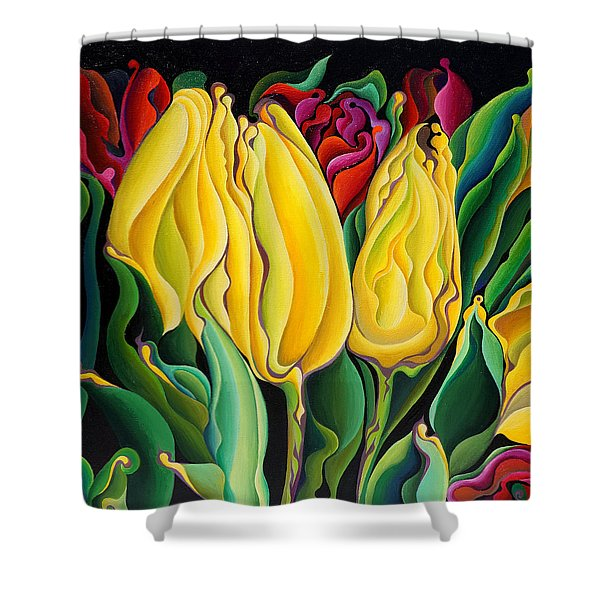 Happy-time Yellow Three-lips Shower Curtain