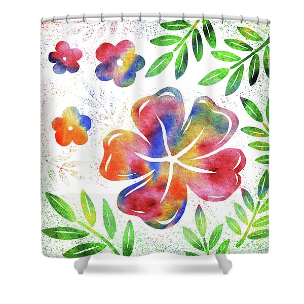 Happy Watercolor Flowers Shower Curtain