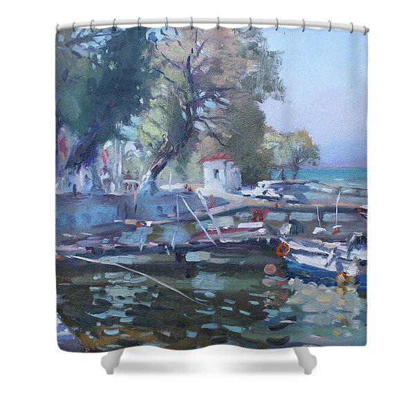 Harbor At Dilesi Greece Shower Curtain