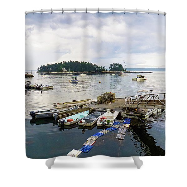 Harbor At Georgetown Five Islands, Georgetown, Maine #60550 Shower Curtain