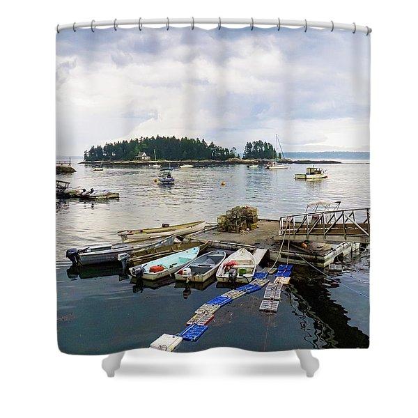Harbor At Georgetown Five Islands, Georgetown, Maine #60550 Shower Curtain