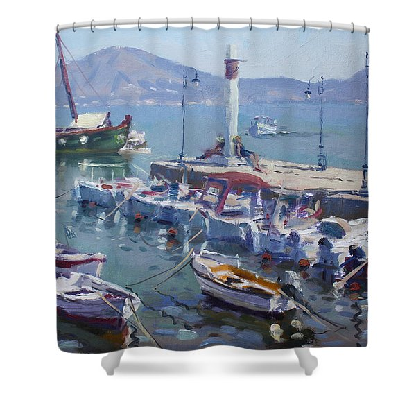Harbor At Oropos Athens Shower Curtain