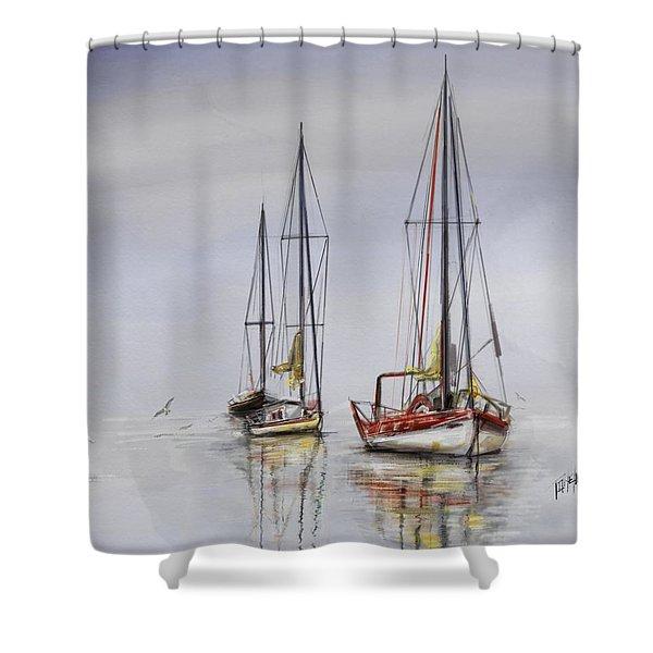 Harbor Light Sailing Shower Curtain