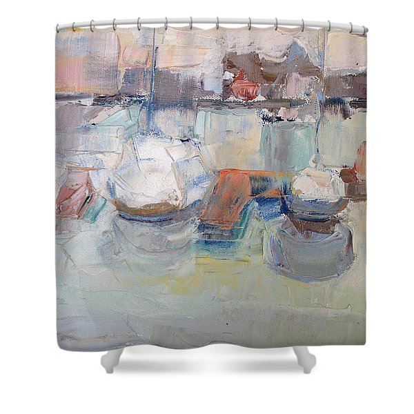 Harbor Sailboats Shower Curtain