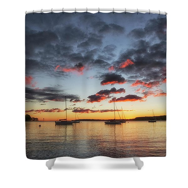 Shower Curtain featuring the photograph Harbor Sunrise by Heather Kenward