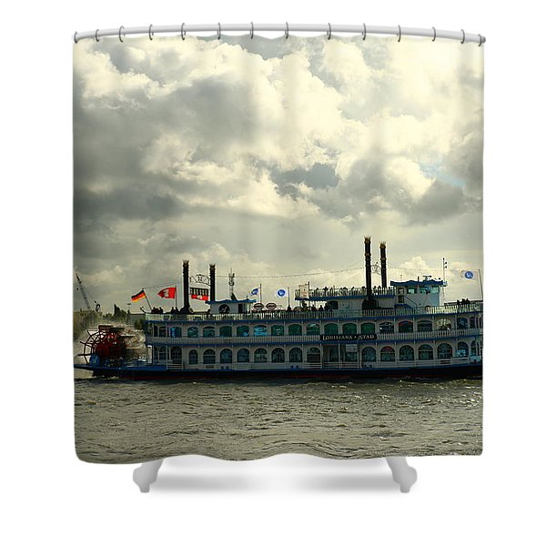 Harbor Tour With Paddle Wheeler Lousiana Star Shower Curtain