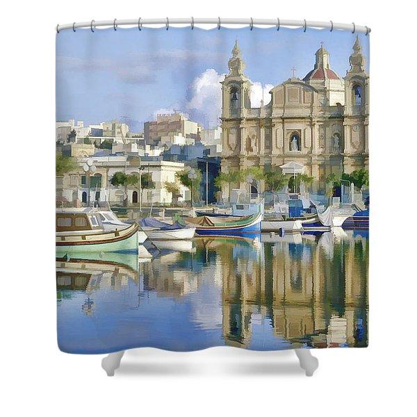 Harborside Msida Malta Shower Curtain