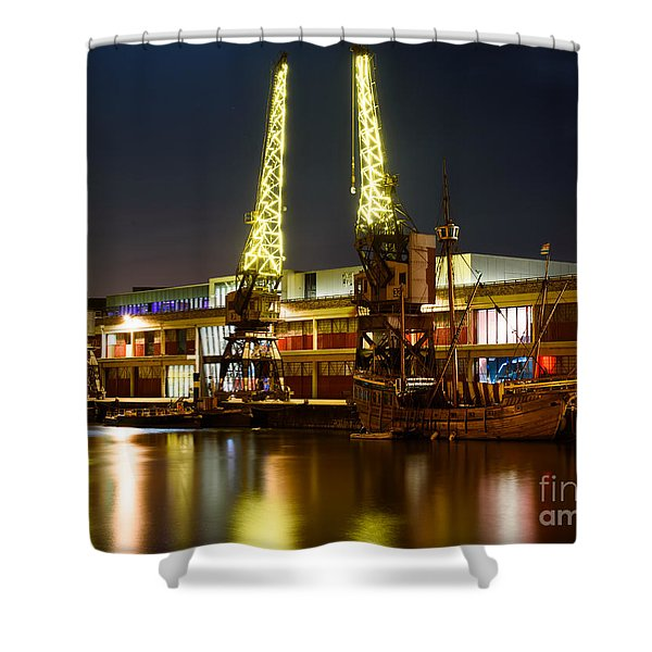 Harbour Cranes Shower Curtain