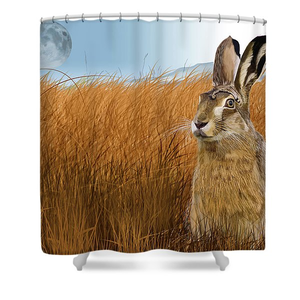 Hare In Grasslands Shower Curtain