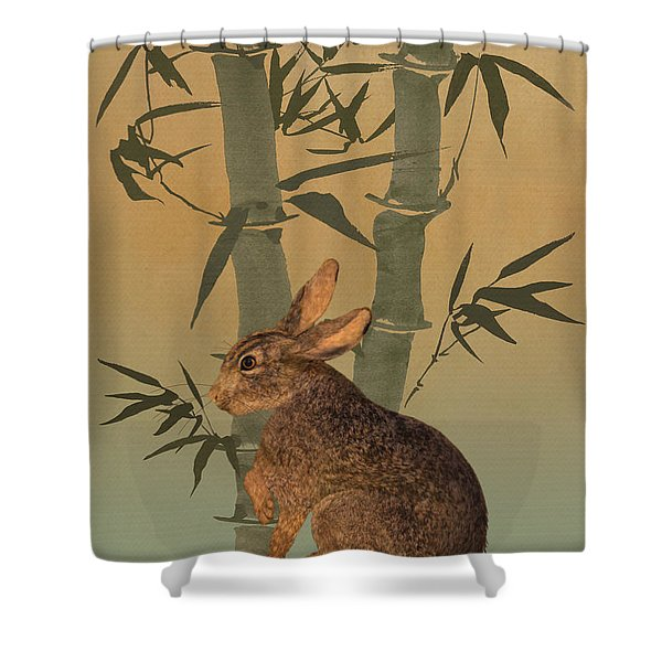 Hare Under Bamboo Tree Shower Curtain