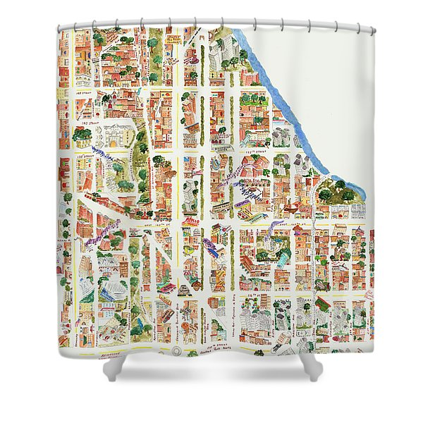Harlem Map From 106-155th Streets Shower Curtain