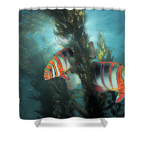 Harlequin Tusk In Kelp Shower Curtain