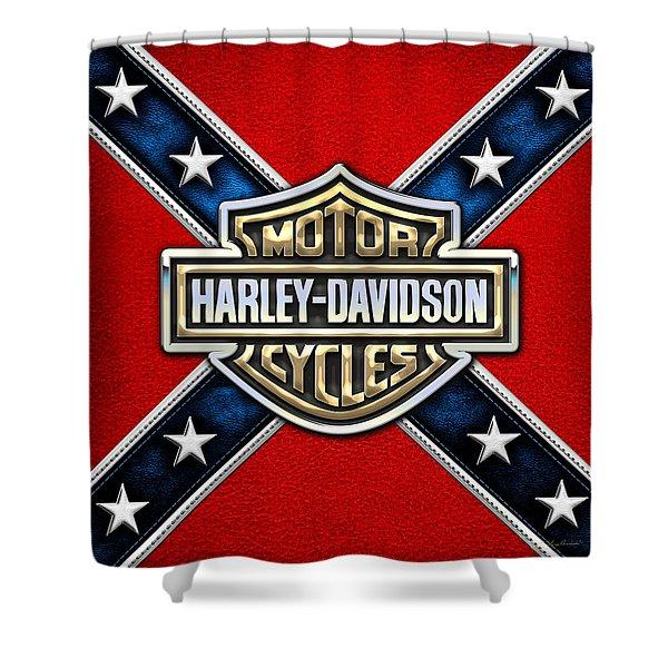 Harley-davidson - 3d Badge Shower Curtain