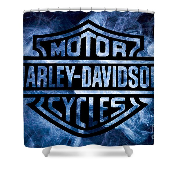 Harley Davidson Logo Blue Shower Curtain