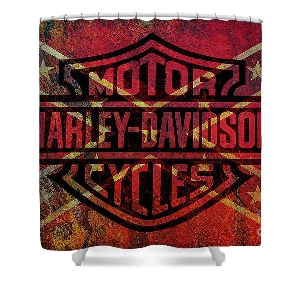 Harley Davidson Logo Confederate Flag Shower Curtain
