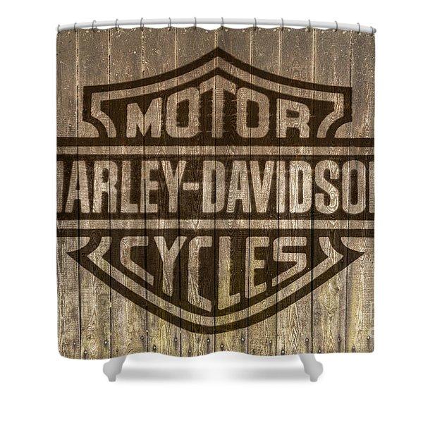 Harley Davidson Logo On Wood Shower Curtain