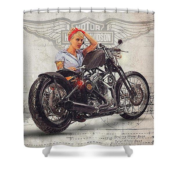 Harley Davidson Mechanic Girl Shower Curtain